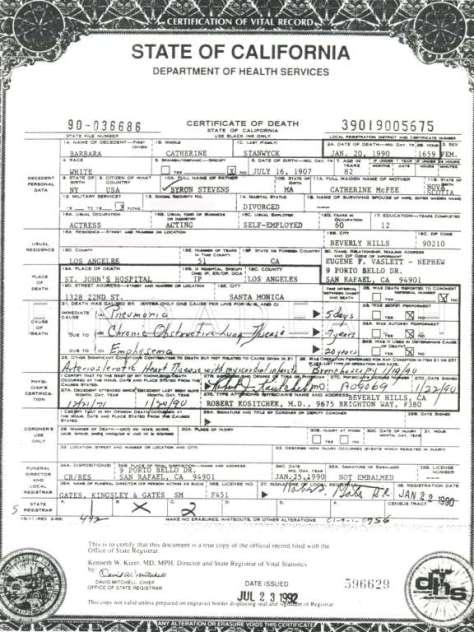 Barbara Stanwyck Death Certificate 96